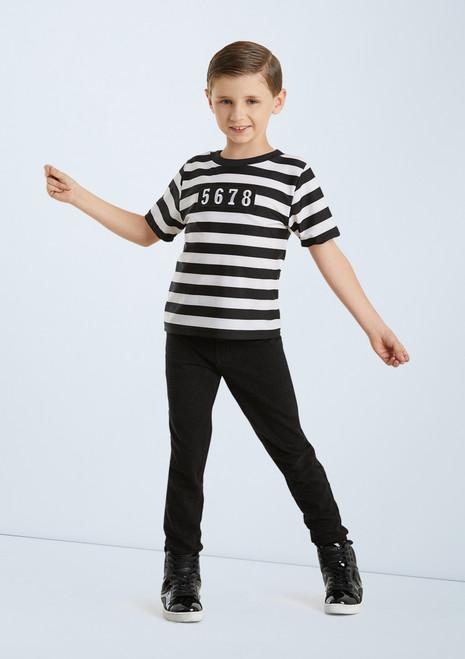 Weissman Boy's Jailhouse Rock T-Shirt Noir-Blanc avant. [Noir-Blanc]