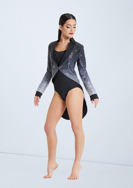 Weissman Ombre Sequin Tailcoat Set Noir-Blanc avant. [Noir-Blanc]