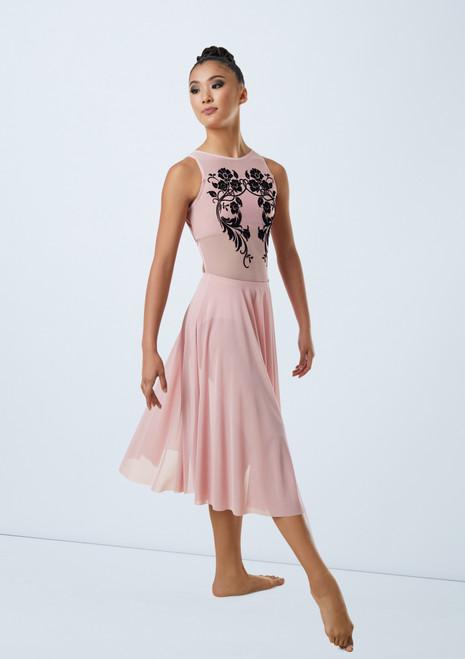 Weissman Floral Flocked Mesh Dress Rouge avant. [Rouge]