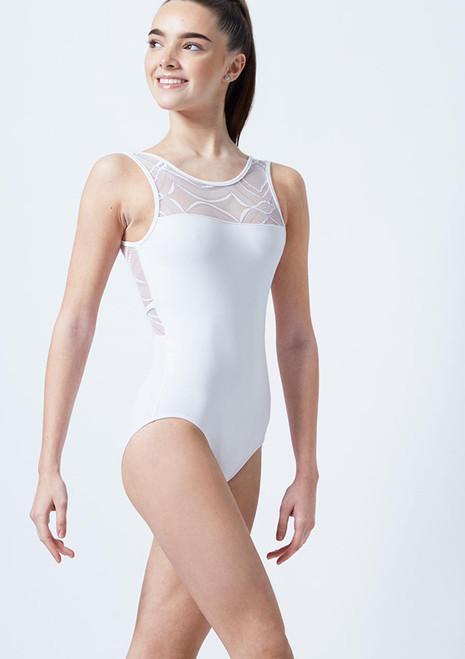 Justaucorps dos ouvert en maille transparente arlequin pour adolescente So Danca Blanc avant. [Blanc]