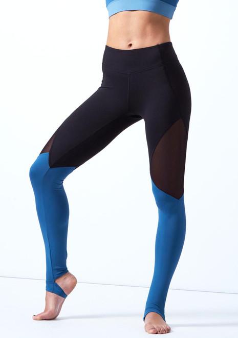 Legging de danse a empiecements Bloch Bleue avant. [Bleue]