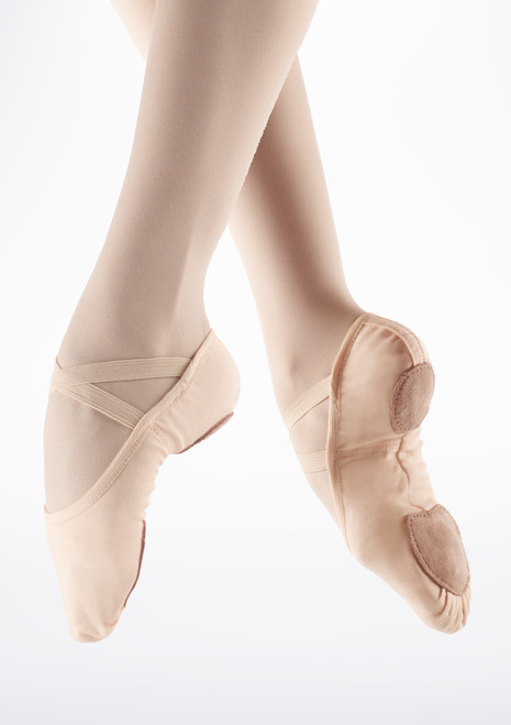 Demi Pointes Extensible en Toile So Danca SD16 bi-semelle Rose image principale. [Rose]