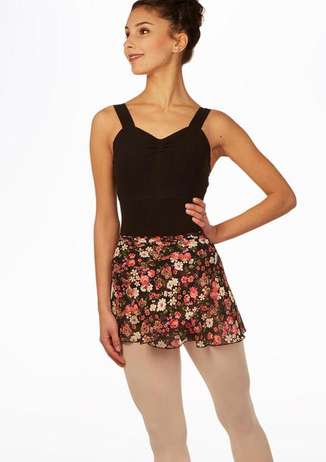 Jupe de danse portefeuille florale noir avant. [Noir]