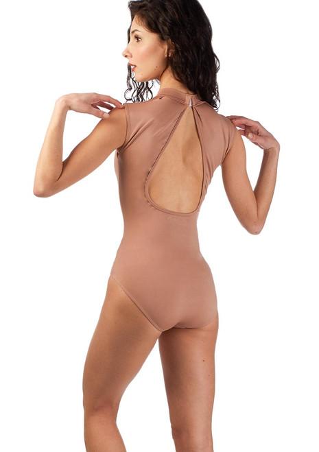 Justaucorps col montant a decoupe dans le dos Ballet Rosa Marron arriere. [Marron]