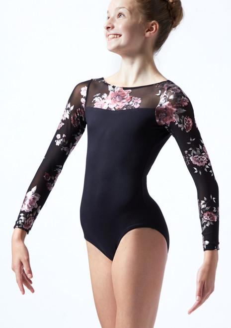 Justaucorps de danse manches longues maille fleurie ados Move Dance Rachel Noir  Avant-2T [Noir ]