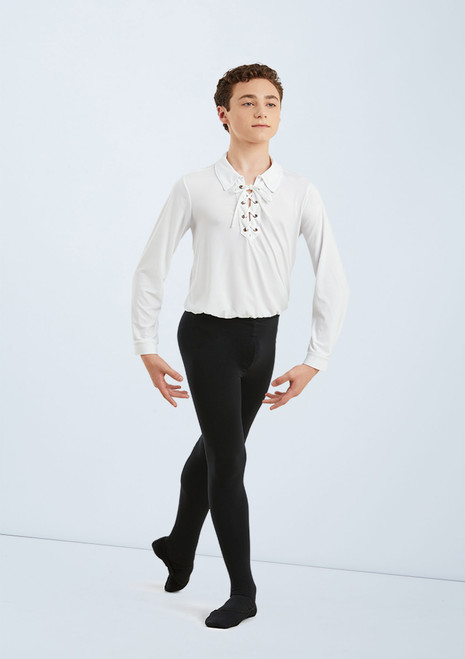 Boys Laced Ballet Shirt 1 [Blanc]T