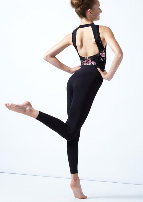 Académique de danse sans manches ados maille fleurie Move Dance Jupiter Noir  Arrière-1T [Noir ]