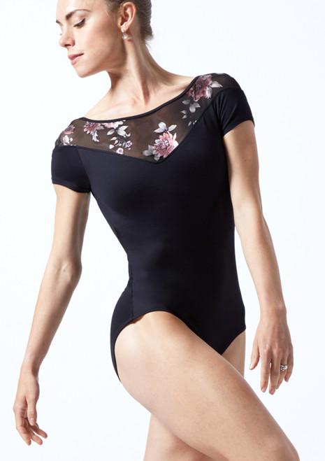 Justaucorps de danse décolleté en cœur maille fleurie Move Dance Margot Noir  Avant-1T [Noir ]
