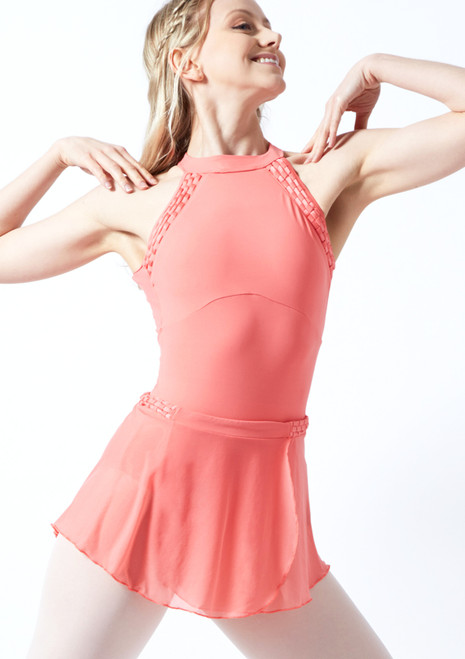 Jupe de danse maille tressage Bloch Maeve Rosso corallo Avant-1T [Rosso corallo]
