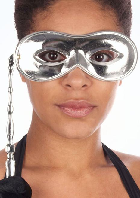 Masque pour les yeux Domino avec baton Argent. [Argent]