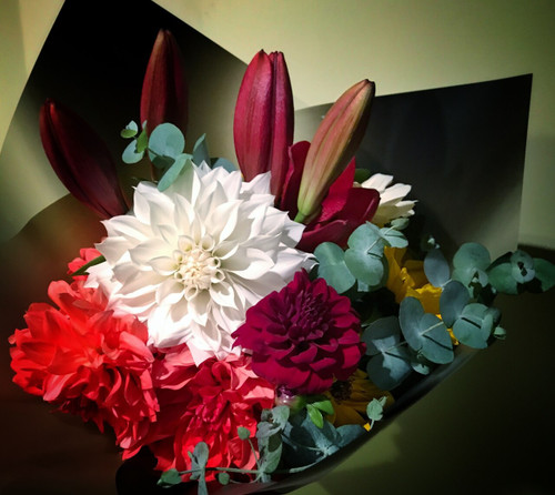 Representational of our Dahlia bouquets - exact varieties depend on harvest.