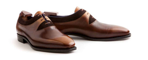 Corthay Brand New Corthay Duke Pullman- Made with Dark Brown Suede and brown Leather