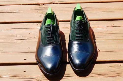 John Lobb Brand New John Lobb Winchester- Sea green Suede and Black Misty calf