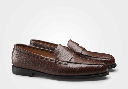 John Lobb Brand New John Lobb Lopez- Crocodile- Brown