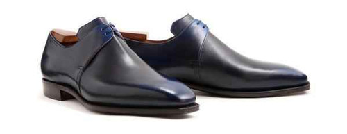 Corthay Brand New Corthay Arca Derby Black and Blue Patina Calf Leather