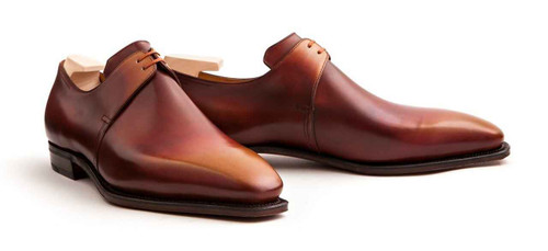 Corthay Brand New Corthay Arca Derby Creme Brulee Patina Calf Leather
