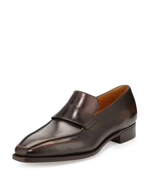 Corthay Brand New Corthay Massai Black Calf Leather Loafers in Vieux Bois patina