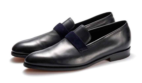 John Lobb Brand New John Lobb Wells - Navy Calf and Indigo Suede