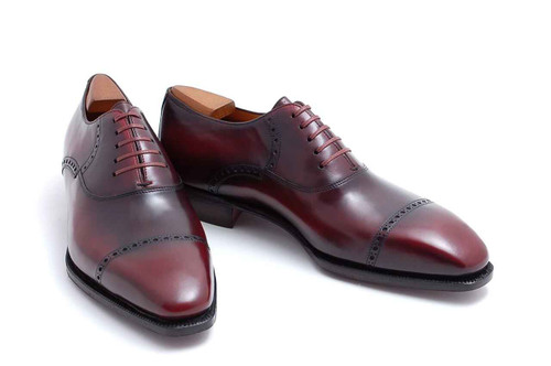 Corthay Brand New Corthay Kleber Oxford Calf Leather Lie de vin patina