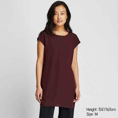 Brand new WOMEN French Sleeve Drape Tunic- Burgundy uniqlo thestylerush.com