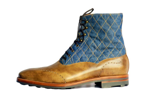 Brand New Maison Koly X Enzo Bonafe Mont Royal Boots Quilted Denim and Khaki Museum Maison Koly thestylerush.com