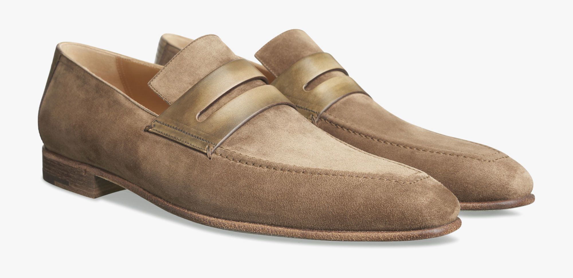 Corthay arca derby dress shoes Taupe suede
