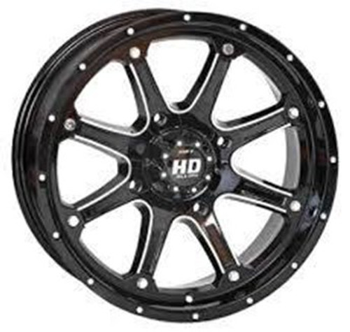 FREE SHIPPING **SET OF 4** The HD4 offers incomparable durability and a stunning new style, of course.The HD4 debuts in a striking Gloss Black finish with machined accents, topped with a Hi-Gloss clear coat seal. Adding to this wheel's dynamic personality are chrome bolts and rivets. The final touch is a matching low-profile center cap. unique inner and outer heavy-duty wheel lip reinforcement. The HD4 is both a beauty and a beast, boasting 1000-lb. load ratings. The new HD4 is obviously a premium wheel, but it does not come at a premium price.
