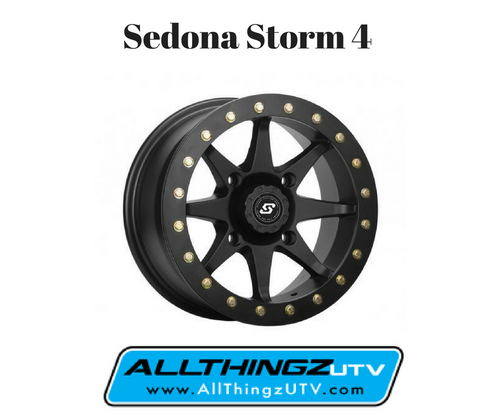 Constructed of hi-grade polished black aluminum Billet bead-lock ring with bolts to help prevent tire bead separation Available in 14-inch size 4/110, 4/115, 4/137, and 4/156 bolt patterns 4+3 and 5+2 offsets Semi counter-sunk bead ring bolts for rock avoidance Valve stem located between the wheel spokes for rock and debris protection Caps included