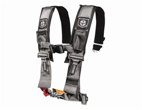 """Pro Armor now offers 4 Point Harnesses. They feature 3"""" harnesses with sewn in pads & a water resistant cell phone pocket to hold your iPhone, Droid or MP3 player. The belts also come with a Free LED Flashlight (mesh pocket for light with velcro closure) & adjustable sternum strap. These harnesses are also easy in and easy out due to the fact the shoulder harnesses are sewn to the lap belts so less hardware & hassle for the latch and link system. Sewn together harnesses have passed all SFI testing but are not SFI certified for racing. *Price is per harness.*  3"""" Wide Harness with Sewn in Padding H Style Harness for Full Adjustability and Application Fit up Adjustable Lap and Sternum Strap to Accommodate All Sized Riders Water Resistant Cell Phone Pocket/MP3 Player Mesh Pocket with Free LED Flashlight 5 Mounting Points for Ultimate Protection and Security Made from only the Highest Quality Materials Easy to Use Pull Down Hoops"""