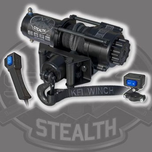 """Whether its on a winding trail, plowing snow or deep in the mud, a reliable winch is the most important accessory a rider can have. Equip your ATV, UTV or SxS with a KFI WINCH and feel confident you can pull yourself out of any situation. This 2500lb ATV Stealth Series winch features Synthetic Cable, Cable Hook Stopper, a dynamic and mechanical braking system, Water Resistant seals to keep the elements out, a standard 4-hole mounting design and a heavy duty all metal turn clutch. It is also backed by a KFI 1-Year Limited Warranty. The KFI SE25 Stealth Winch comes with everything you need other than an ATV model specific winch mount. Everything shown is included along with detailed installation instructions and hardware to mount your winch to a model specific ATV winch mount. ~ 50' Synthetic Cable with 5' protective sheath and end loop ~ Take control of your winch with the included Mini-Rocker Switch that comes with an adjustable bracket to mount it to your ATV's handle bars and allows you to control your winch with the touch of your finger without ever letting go of your handle bars. ~ The included Heavy Duty Electric Contactor protects your ATV's electrical system and switches the power distribution of your winch that is controlled from your switches. ~ The included Cable Hook Stopper with the following benefits: - Eliminates wear and tear on your rollers from the hook with can cause cable wear. - Eliminates hook clatter from going down the trail. - Protects the winch motor and gears from pulling the cable in to far and bottoming out on the rollers. - Keeps tension on the hook to eliminate the cable becoming loose. - Also has slits designed in it to work as an anti-kick back for the cable if your cable was to snap. - Looks great. - Once you have one, everyone else that you ride, with will want one :)  Recommended Battery : 12 Amp/hour minimum Winch Weight: 22.7 lbs. (complete kit) Mounting Bolt Pattern: 3.00"""" x 4.875"""" (4-Hole) Mount Plate: Fairlead Mount Only (A Mo"""