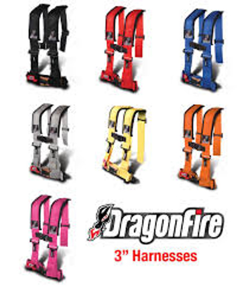 "Product Details Dragonfire 4-Point 3"" Harness Restraints are what you need to keep you safe and secure in your UTV! These Dragonfire 4-point Harnesses are an H-style design with padded shoulders. Each harness is fully adjustable to fit all riders and have easy adjustment pull don tabs.    Features       -H-Style 3"" harness       -Extended sewn-in shoulder pads with sternum clip       -3"" features sewn shoulder and lap belts for easy in/out       -Fully adjustable to suit all riders       -Easy adjustment pull down tabs       -Padded 4-point design with optional 5th mounting point       -Sold individually"