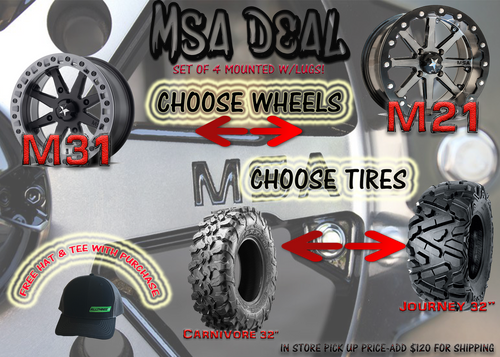 """SET OF 4 MSA M21 OR M31 14X7/4+3 MOUNTED ON 32"""" TIRES"""
