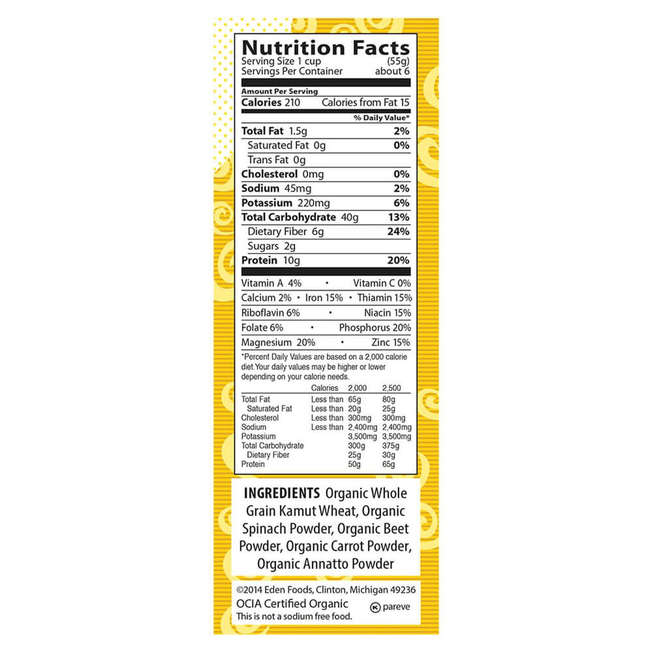 Kamut® Vegetable Spirals, Organic, 100% Whole Grain