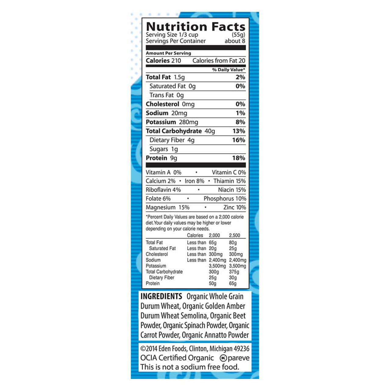 Vegetable Alphabets, Organic, 60% Whole Grain