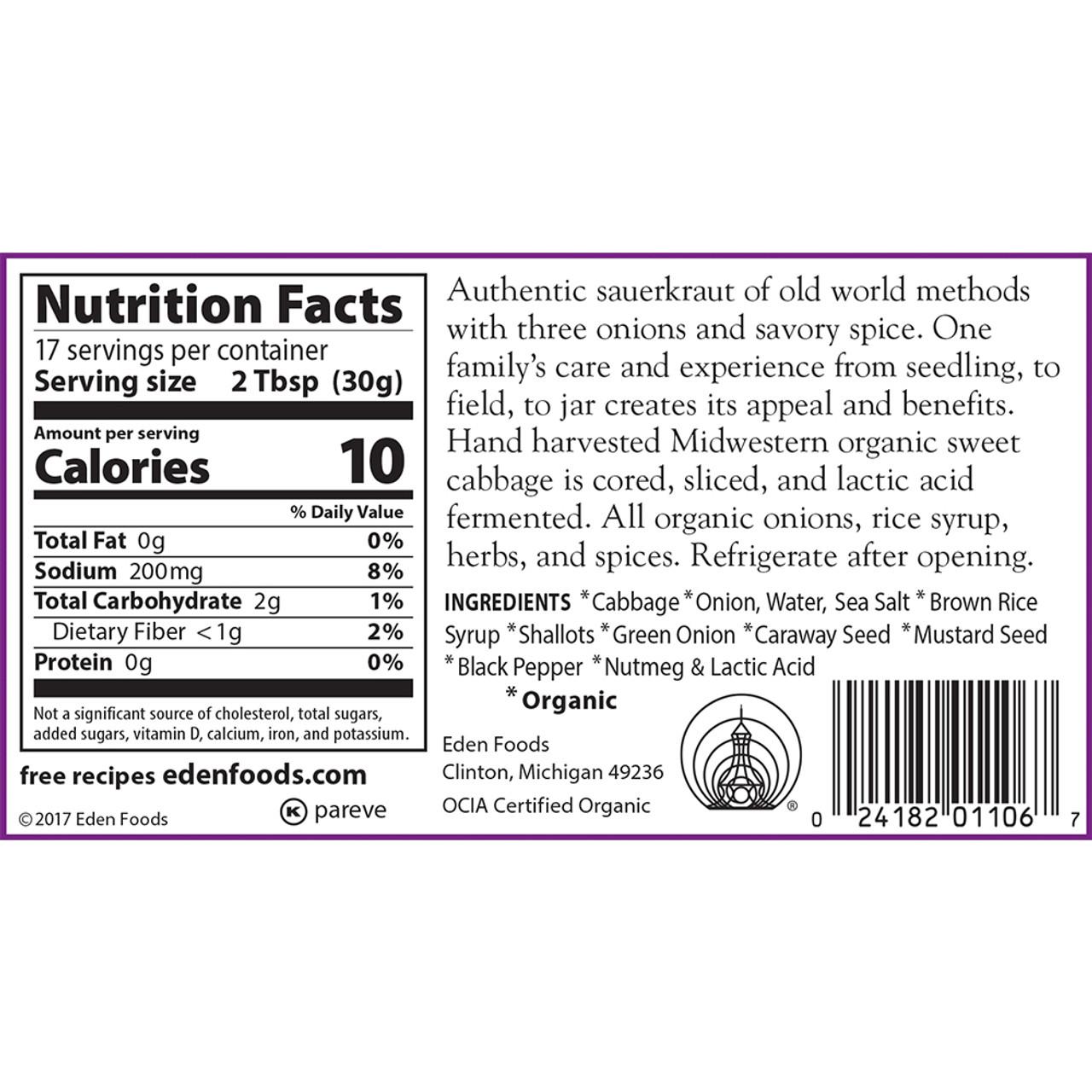 Sauerkraut - Three Onion, Organic - 18 oz