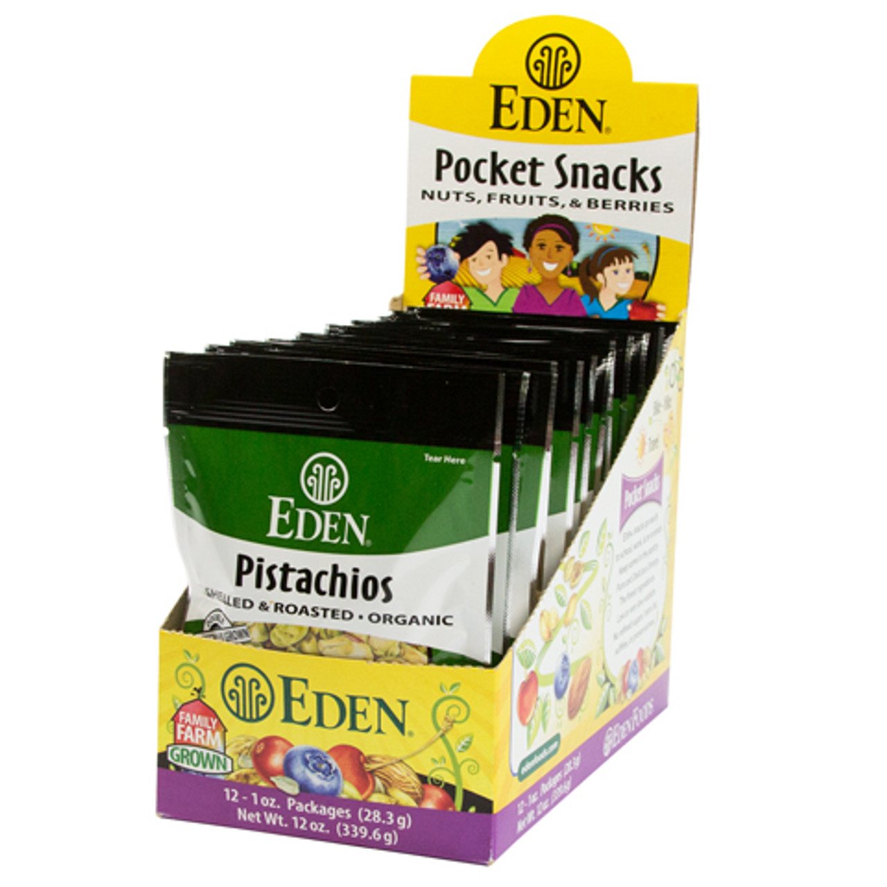 Pistachios Pocket Snacks, Organic - 12 pack