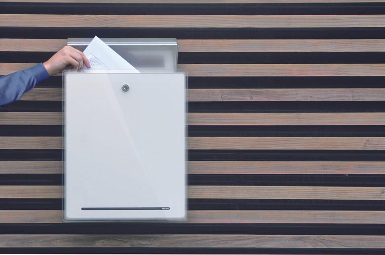 White Letterman III Modern Mailbox
