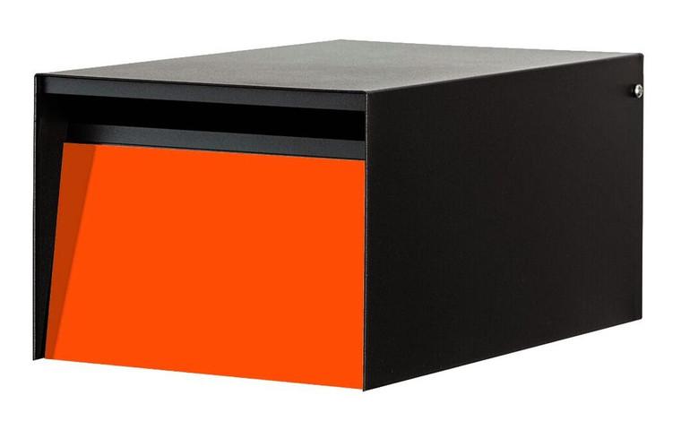 Orange Front - Modern Urban Back Opening Mailbox with black casing