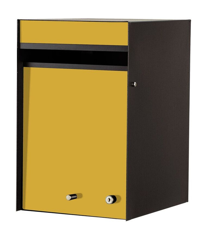 Yellow Front - Designer Front Opening Modern Mailbox