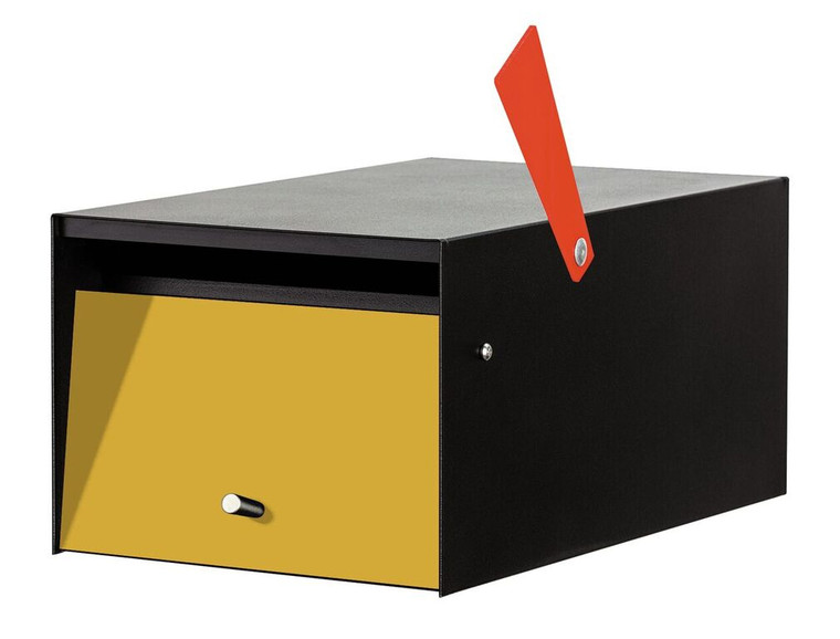 Rural Black Modern Mailbox in Yellow, no lock, with flag