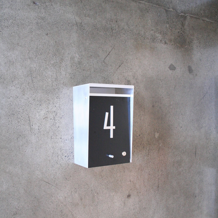 Black Wall Mount Aluminum Modern Mailbox on Concrete Wall