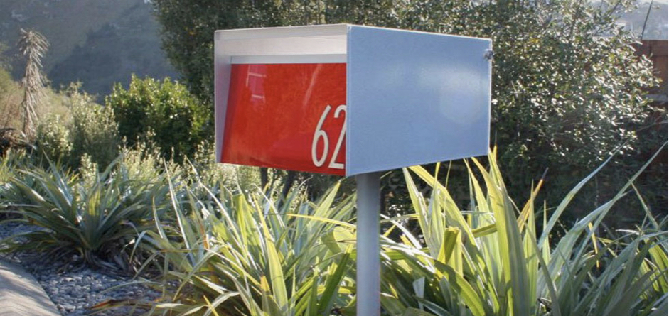Urban Modern Mailbox with Modern Numbers on Modern Post