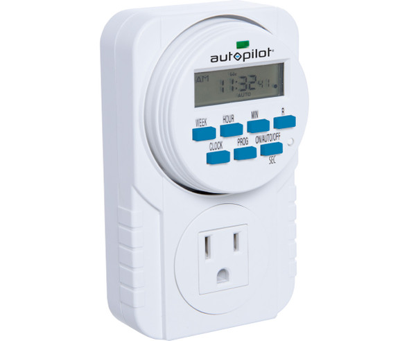 Autopilot 7-Day Grounded Digital Programmable Timer 1725W 15A 1 Second On/Off 8 On/Off Cycles