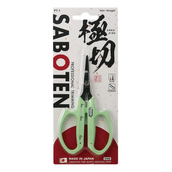 Saboten Straight Blade Trimming Shears Scissors - Green