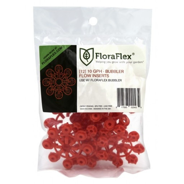 BUBBLER FLOW INSERTS - 12PACK - 10GPH - (RED)