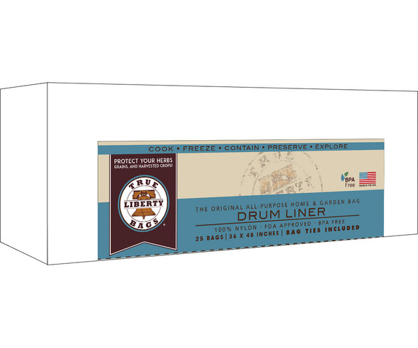 """True Liberty Bags 55 Gallon Drum Liners 36"""" x 48"""" - 25 pack"""