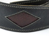 """2.5"""" Black Leather Guitar Strap with Red Diamonds"""