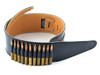 """3.5"""" Black Leather Guitar Strap with 30-06 (Dummy) Bullets"""