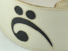 """3.5"""" White with Bass Clef Leather Guitar Strap (Wide Model)"""