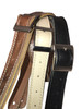 Thinny Black Velvet  leather guitar strap w/ Black Stitch with buckle
